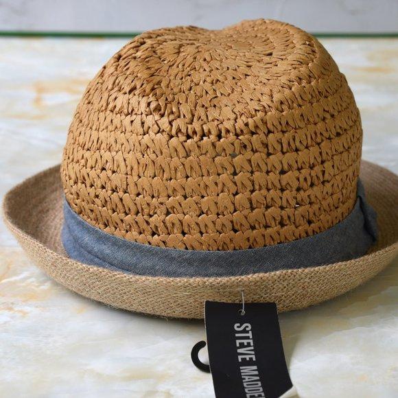 Steve Madden Women/'s Classic Fedora Hat w//Denim Accent NEW w Tags